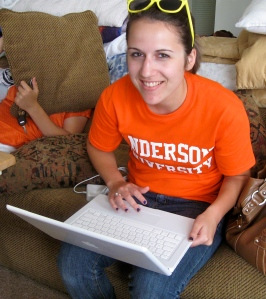 Kimmi with her new laptop!